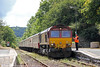 The driver of 66006 receives the token for the next section at Llandeilo with UK Railtours 1Z39, 0735 London Paddington to Llandrindod Wells on 27th August 2011.
