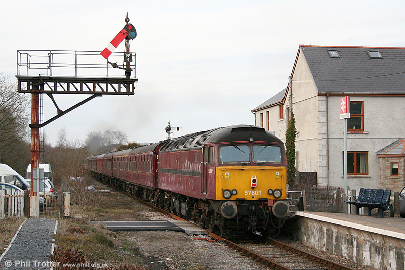 57601 at Pantyffynnon bringing up the rear of private charter 1Z67, 1606 Haverfordwest to Carnforth on 19th March 2011.