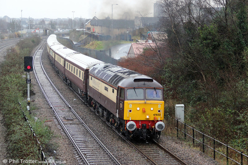Off for Christmas lunch: 2012 has been a good year for sightings of the venerable 'Brush Type 4s', with several examples appearing on the main line at various times. Here, 47832 'Solway Princess' leaves Swansea with 1Z27, 1137 Newport to Fishguard Harbour 'Northern Belle' on 19th December 2012. <br>Will we see DRS's new Vossloh Class 68s hauling the Northern Belle in 2013?