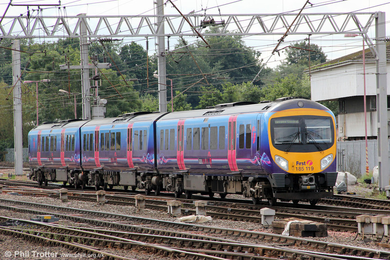 First TPE 185119 calls at Carlisle forming 1S40, 0900 Manchester Airport to Glasgow Central on 7th August 2012.