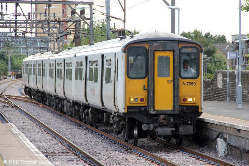 317650 at Hackney Downs forming 2D40, 1255 London Liverpool Street to Hertford East on 26th August 2012.
