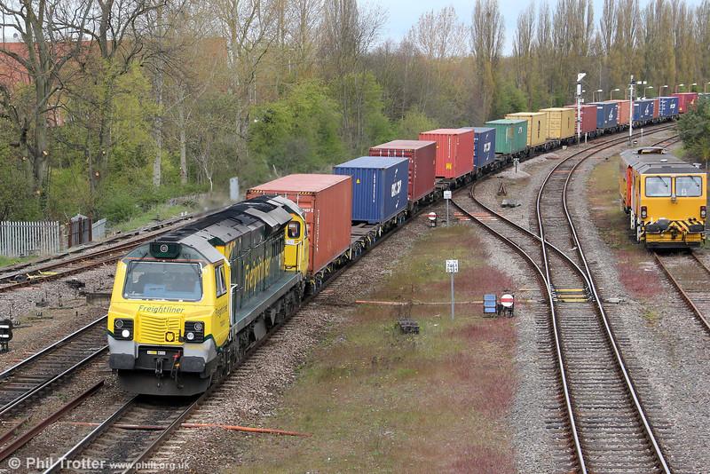 70001 'Powerhaul' is seen at Banbury heading 4O29, 0814 Crewe Basford Hall to Southampton on 21st April 2012.
