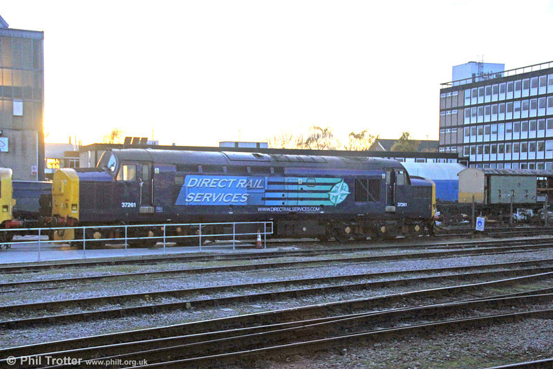 DRS 37261 stabled at Derby RTC at sunset on 29th November 2012.