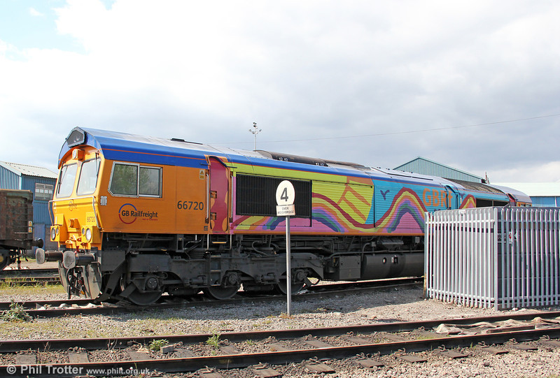 GBRf's 66720 displays its 'rainbow livery' (designed by a six year old) while stabled at Cardiff Tidal on 6th May 2012.