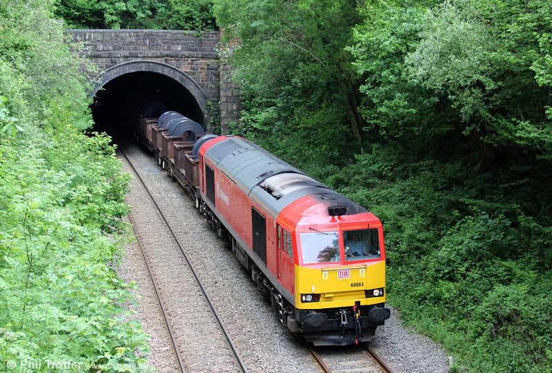 Having arrived back in South Wales overnight on 6Z19 from Scunthorpe Steelworks, 60063 is seen here leaving the 284 yard Penllergaer Tunnel with 6B41, 1310 Margam to Trostre on 2nd June 2012.