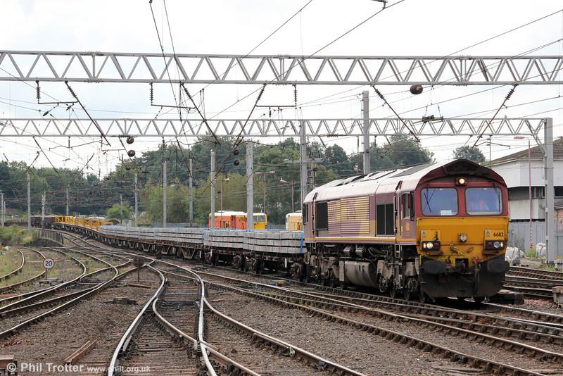 66112 at Carlisle with 6C02, 0409 Crewe Basford Hall to Carlisle Yard on 4th August 2012.
