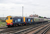 20312 and 20308 lead Pathfinder's 1Z62, 1408 Eastleigh Works to Southampton Western Docks, 'The Hampshire Hotchpotch' into Eastleigh on 5th May 2012.