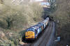37603 and 37606 are about to disappear into Lonlas Tunnel at the rear of Pathfinder's 1Z66, 1036 Tondu to Cwmgwrach via GCG, 'The Coal Grinder' railtour on 24th March 2012.