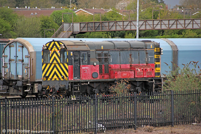 A second view of 08757 (formerly D3925) taken from inside the GWS Railway Centre, on 21st April 2012.