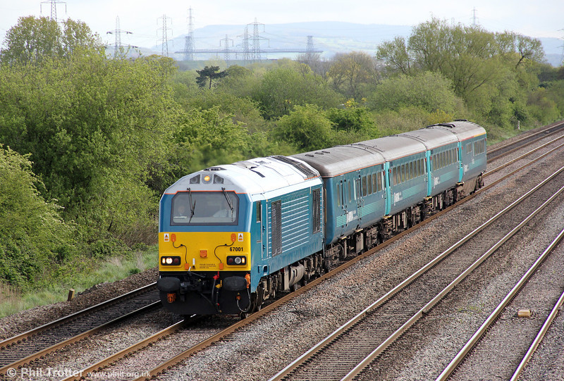 67001 passes Coedkernew with 1V31, 0532 Holyhead to Cardiff Central on 8th May 2012.