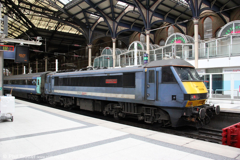 90010 'Bressingham Steam & Gardens' rests at London Liverpool Street having arrived with 1P33, 1130 from Norwich on 26th August 2012. Redevelopments mean that the days of taking anything approaching a decent photograph at the country end of Liverpool Street are long gone!
