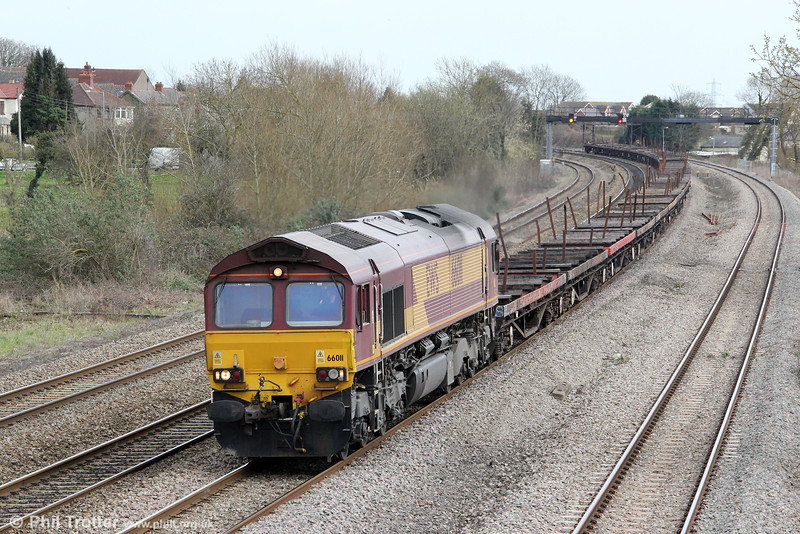 66011 at Magor with 6V40, 0530 Scunthorpe to Cardiff Tidal on 21st March 2012.