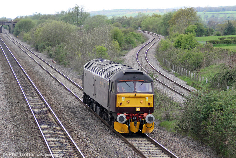 West Coast's 47760 passes Llandevenny running as 0Z59, 1043 Preston to Bristol Temple Meads as escort to the 2012 'Great Britain V' steam railtour. 27th April 2012,