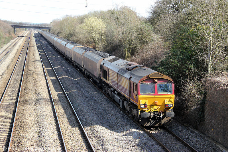 66199 is seen at Llandevenny with 6V67, 0347 Redcar to Margam coke on 19th March 2012.