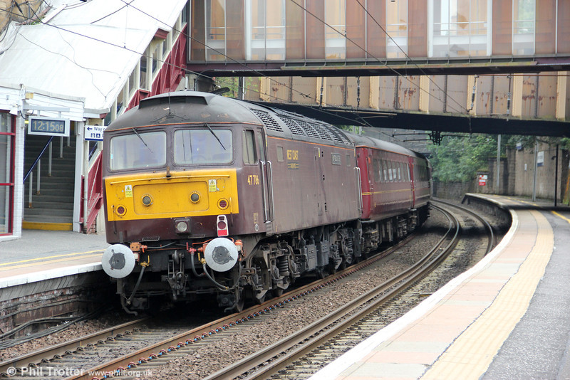 WCRC 47786 brings up the rear of 5Z54, 1040 Perth to Carnforth at Motherwell on 5th August 2012.