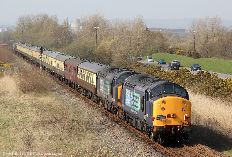 37603 and 37606 bring up the rear of Pathfinder's 1Z66, 1036 Tondu to Cwmgwrach via GCG, 'The Coal Grinder' railtour at Loughor on 24th March 2012.