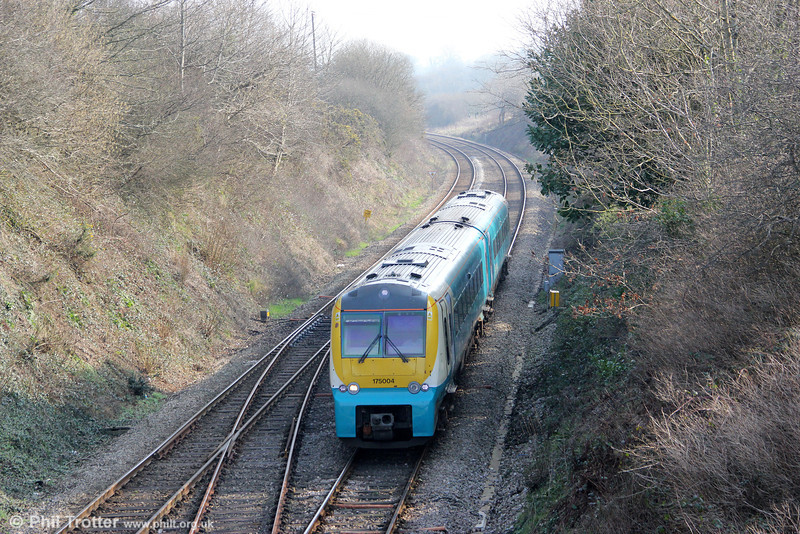 175004 approaches Clarbeston Road forming 1V73, 0630 Manchester Piccadilly to Milford Haven on 2nd March 2012.