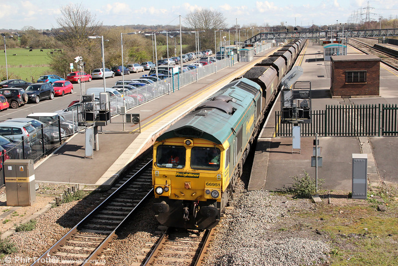 66951 passes through Severn Tunnel Junction with 6M04, 1050 Portbury to Rugeley Power Station on 19th March 2012.