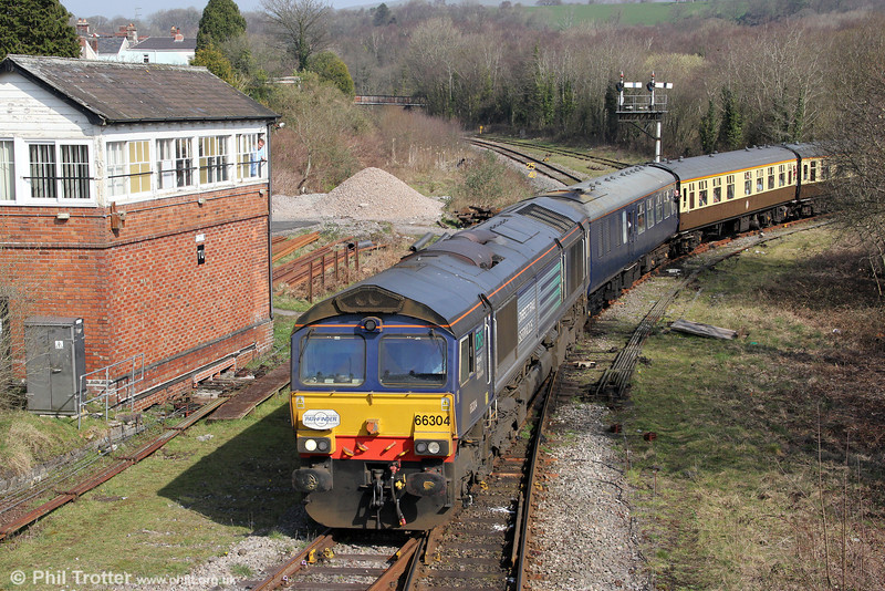 Former Fastline DRS 66304 takes the line to Margam from Tondu with Pathfinder's 1Z66, 1036 Tondu to Cwmgwrach via GCG, 'The Coal Grinder' railtour on 24th March 2012.