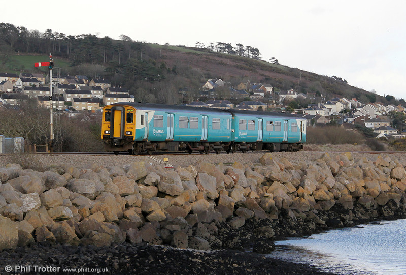 150264 returns through Pwll, this time forming 1E79, 1550 Llanelli to Milford Haven on 4th March 2012.