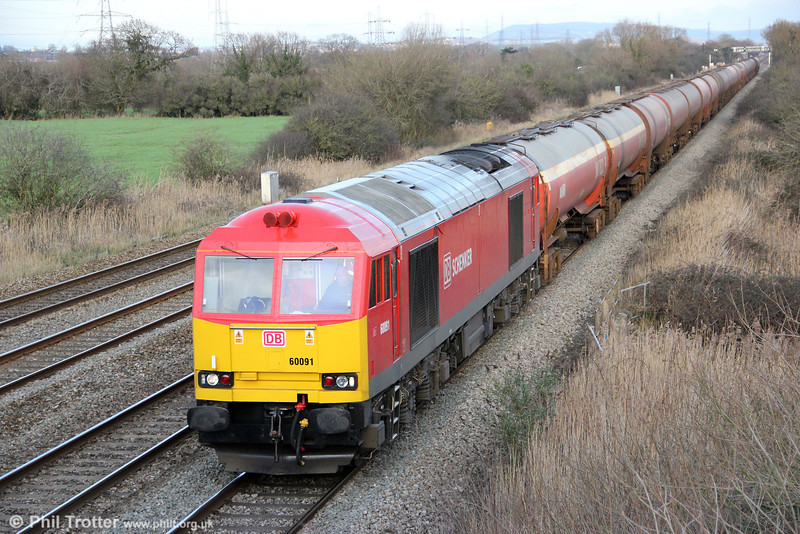 Reconditioned 60091 passes Coedkernew with 6B33, 1212 Theale to Robeston on 28th January 2012.