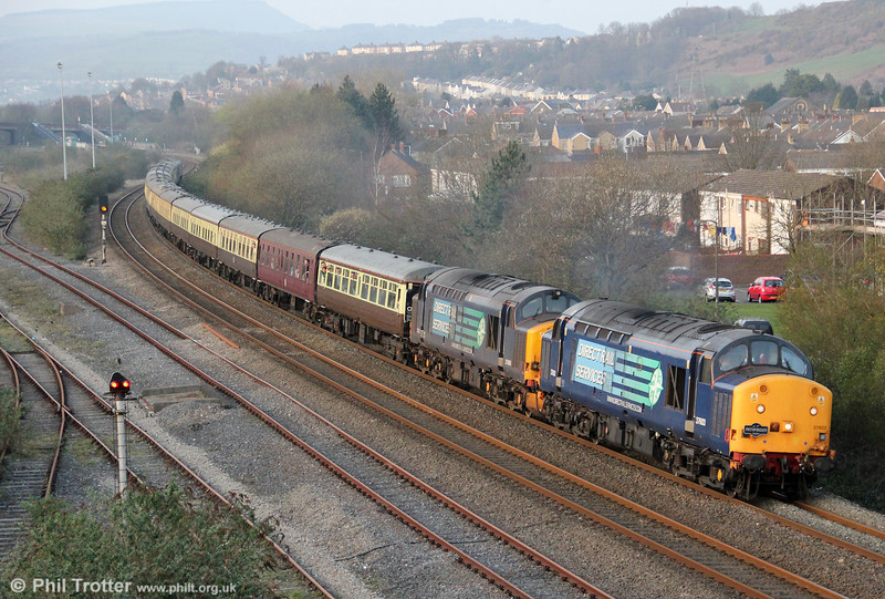 And finally.... 37603 and 37606 pass Briton Ferry with Pathfinder's 1Z38, 1644 Cwmgwrach to Crewe, 'The Coal Grinder' railtour on 24th March 2012.