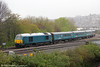 A second shot of 67001 at Maindee West Junction with 1V31, 0532 Holyhead to Cardiff Central on 27th April 2012.
