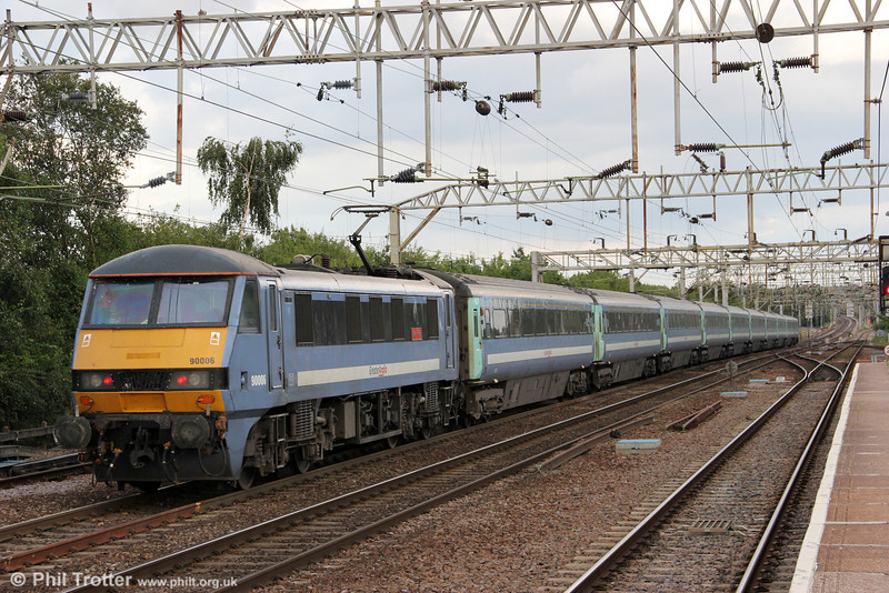 90006 'Roger Ford' propels 1P54, 1630 London Liverpool Street to Norwich away from Colchester on 26th August 2012.