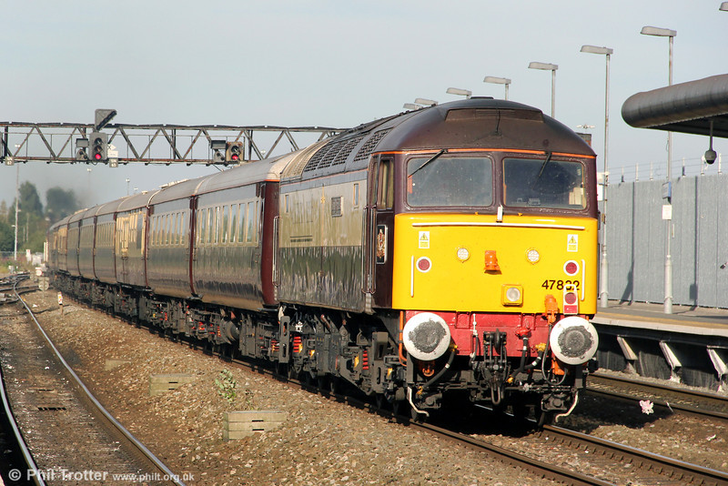 DRS 47832 'Solway Princess' at the rear of 1Z79, 1702 Bath Spa to Gobowen 'Northern Belle' at Swindon on 8th September 2012.