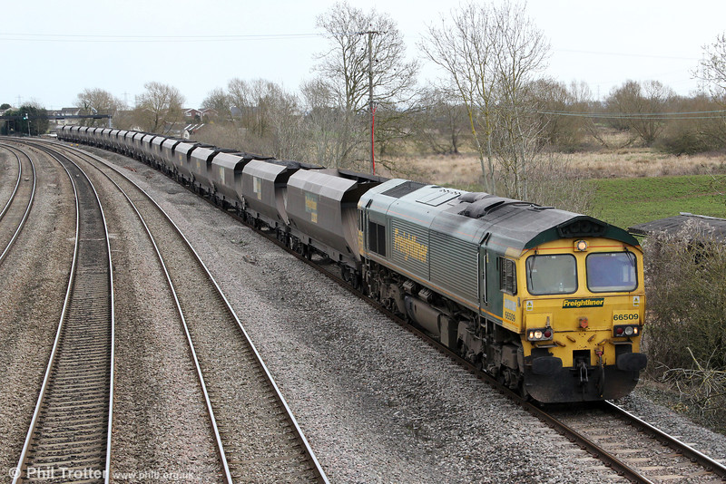 66509 at Magor with 6M04, 1050 Portbury to Rugeley Power Station on 21st March 2012.