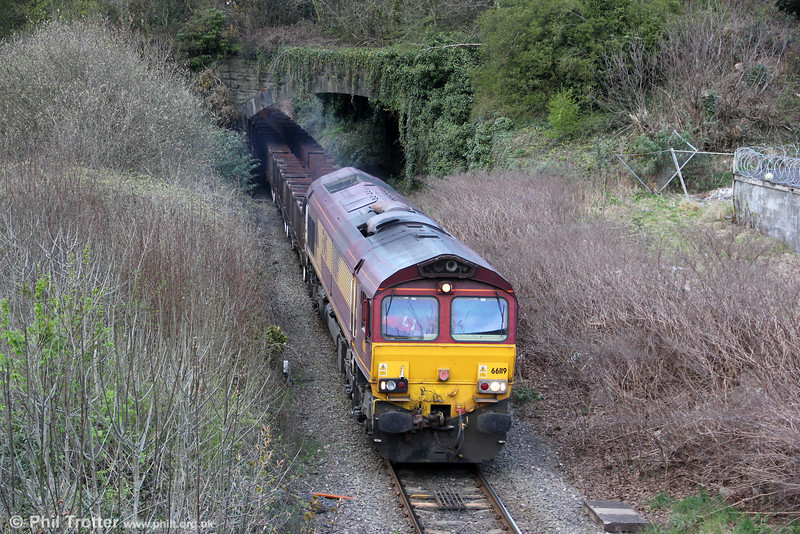 66119 at Briton Ferry UFL with 6B20, 1835 Trostre to Margam on 4th April 2012.