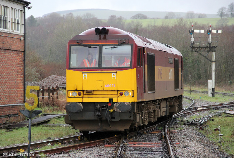 60071 'Ribblehead Viaduct' at Tondu in the course of running around its train, 6H25 Margam to Llanwern on 21st January 2012.