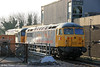 BARS/Devon & Cornwall Railways 56312 and 56302 stabled at Cardiff Central on 29th March 2012.