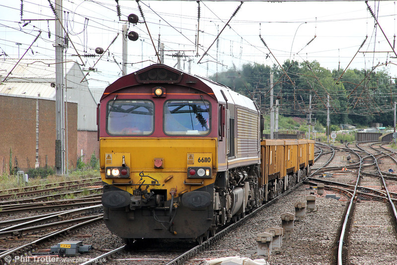 66110 approaches Carlisle with 6L90, 0620 Horrocksford Junction to Carlisle Yard engineers' train on 7th August 2012.
