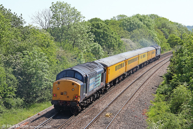 37601 'Class 37 - Fifty' is seen at the rear of Radio Survey Test Train 1Q13, 0930 Exeter Riverside Yard to Didcot on 26th May 2012.