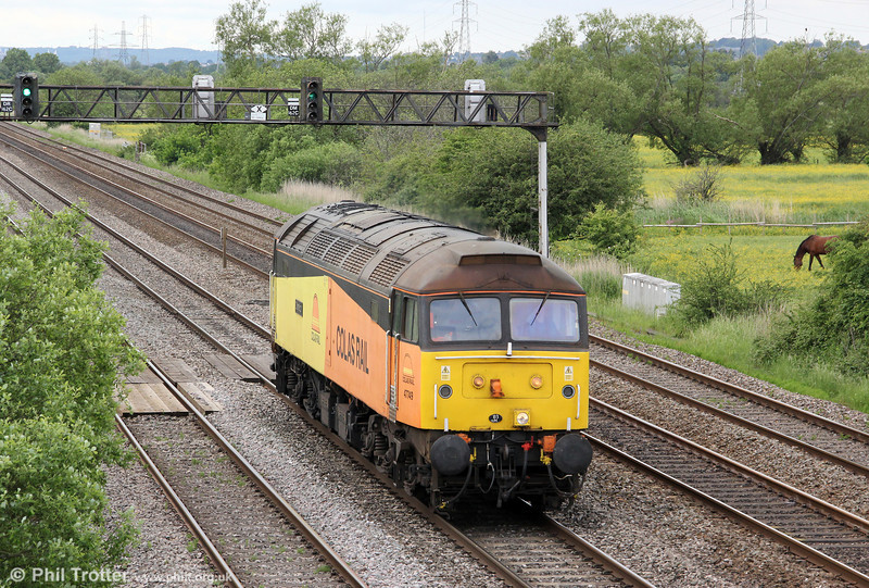 Colas Rail's 47749 'Demelza' passes Coedkernew running as 0Z47, 1300 Cardiff Canton to Doncaster on 4th June 2012.