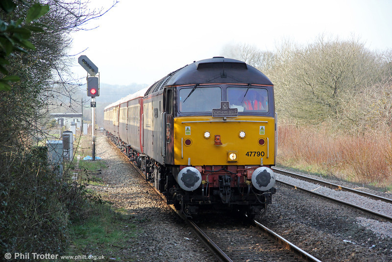 47790 'Galloway Princess' returns to Clarbeston Road on 2nd March 2012. The train will now wait here to allow 1W29, 1310 Milford Haven to Manchester Piccadilly and 1G97, 1330 Fishguard Harbour to Cheltenham Spa to pass, before returning to Fishguard.