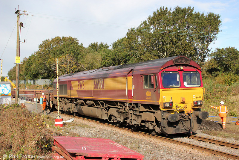 66051 waits at Gowerton with 6Y08 while fresh ballast is unloaded and the wagons filled with spoil on 14th October 2012.