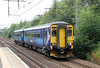 156513 approaches its stop at Holytown forming 2Y48, 1518 Glasgow Central to Edinburgh Waverley on 6th August 2012.