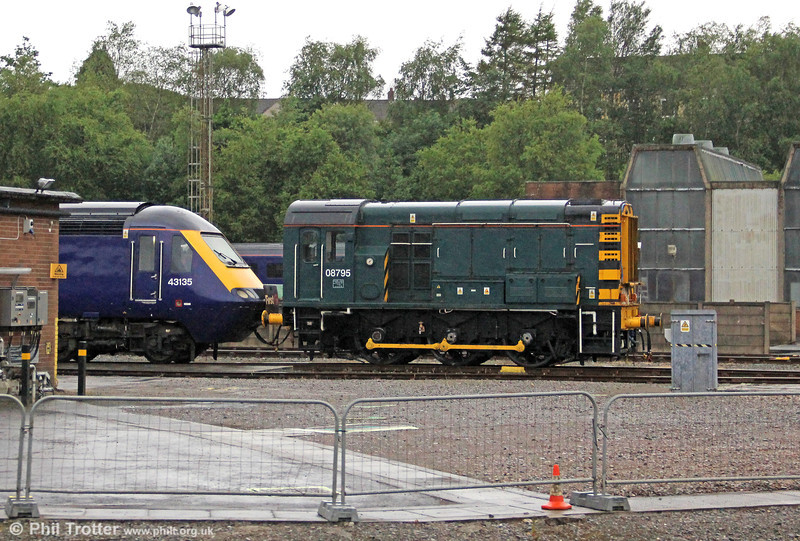 A seldom seen member of the FGW fleet is Landore resident 08795. The reclusive 08 is seen coupled to power car 43135 on 23rd June 2012.