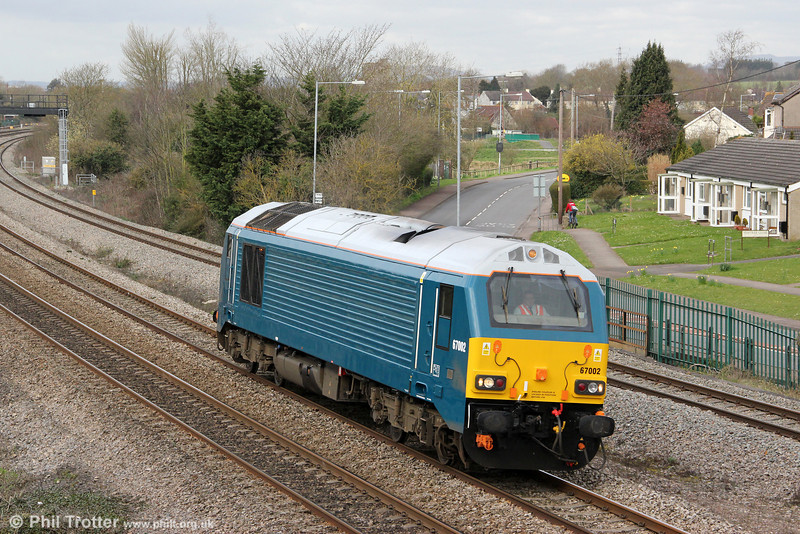 67002 passes Undy running as 0Z60, 0859 Cardiff Canton to Gloucester for driver training on 20th March 2012.