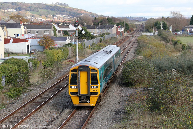 All of ATW's class 158 units have now been refurbished. Here, 158836 approaches Pembrey & Burry Port forming 1E16, 1205 Cardiff Central to Milford Haven on 11th November 2012.