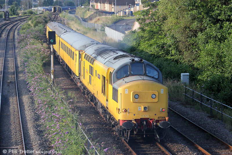 NR 97304 (37217) 'John Tiley' propels Test Train 3Z33, 0515 Milford Haven to Derby RTC into Swansea on 28th July 2012.