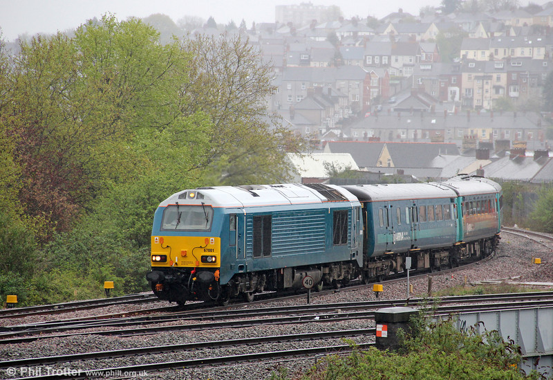 67001 at Maindee West Junction with 1V31, 0532 Holyhead to Cardiff Central on 27th April 2012.