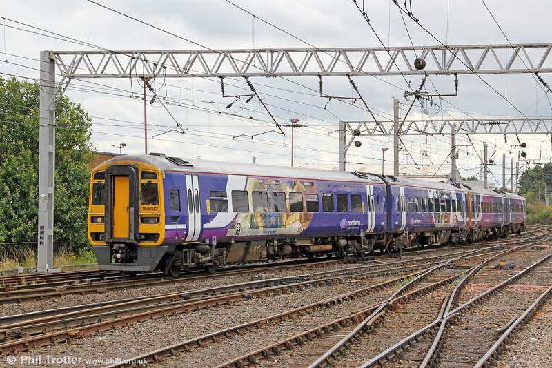 Northern's 158793 arrives at Carlisle forming 2H86, 1049 from Leeds on 7th August 2012.