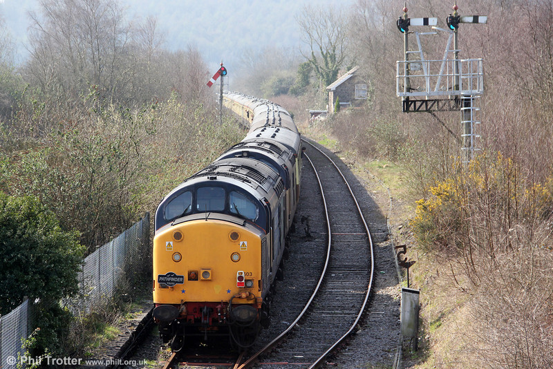 37603 and 37606 bring up the rear of Pathfinder's 1Z66, 1036 Tondu to Cwmgwrach via GCG, 'The Coal Grinder' railtour at Tondu on 24th March 2012.