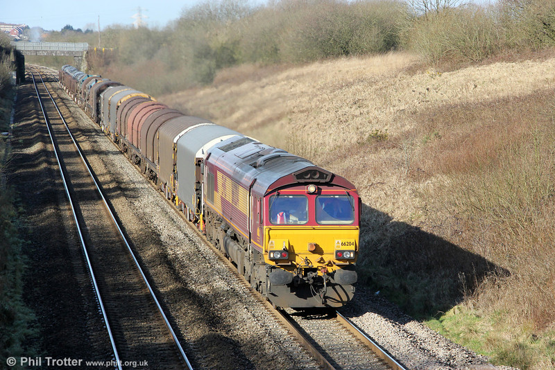66204 climbs Stormy Bank with 6H25, 1022 Margam to Llanwern on 26th February 2012.