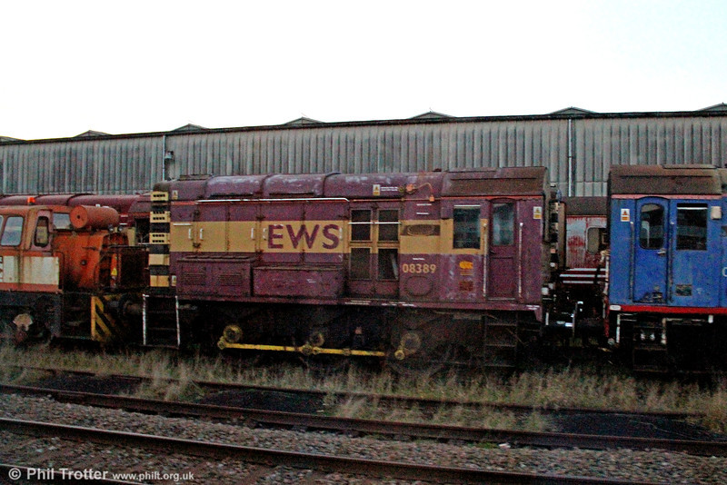 Now owned by Harry Needle, 08389 was withdrawn by EWS in September 2009 and is seen in store at the premises of Nemesis Rail, Burton upon Trent on 29th November 2012.