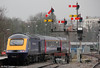 The fine array of semaphore signals at Worcester Shrub Hill is a pleasant reminder of times past. FGW's 43012 passes at the rear of 1W02, 1021 London Paddington to Hereford on 18th February 2012.