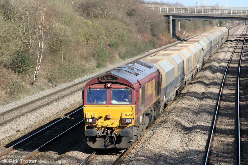 66058 passes Llandevenny with 6B35, 1047 Hayes to Moreton on Lugg on 19th March 2012.